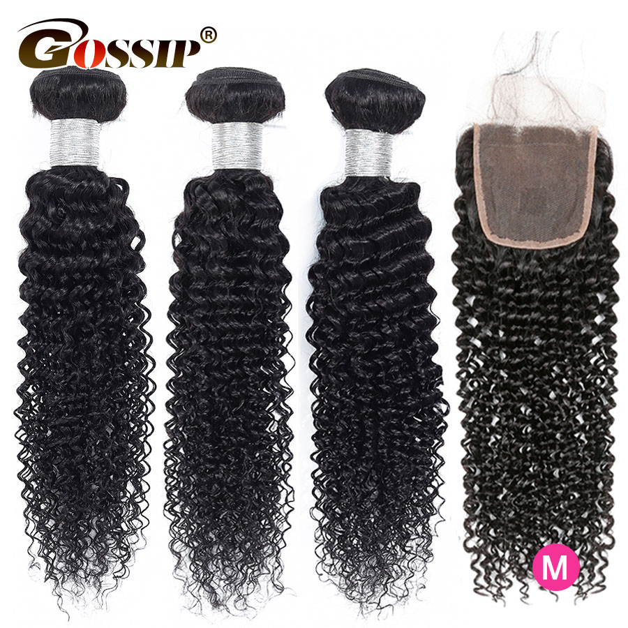 Brazilian Kinky Curly Bundles With Closure 100% Human Hair 70 Gram Per Bundles With Lace Closure Gossip Remy Hair Extensions