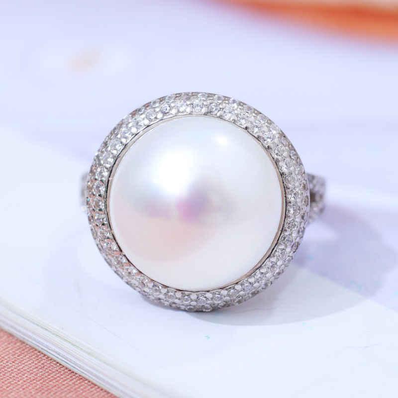 DMCRFP025 12-13 มม.แหวนมุกขนาดใหญ่และปรับแท้ 925 แหวนเงินผู้หญิง