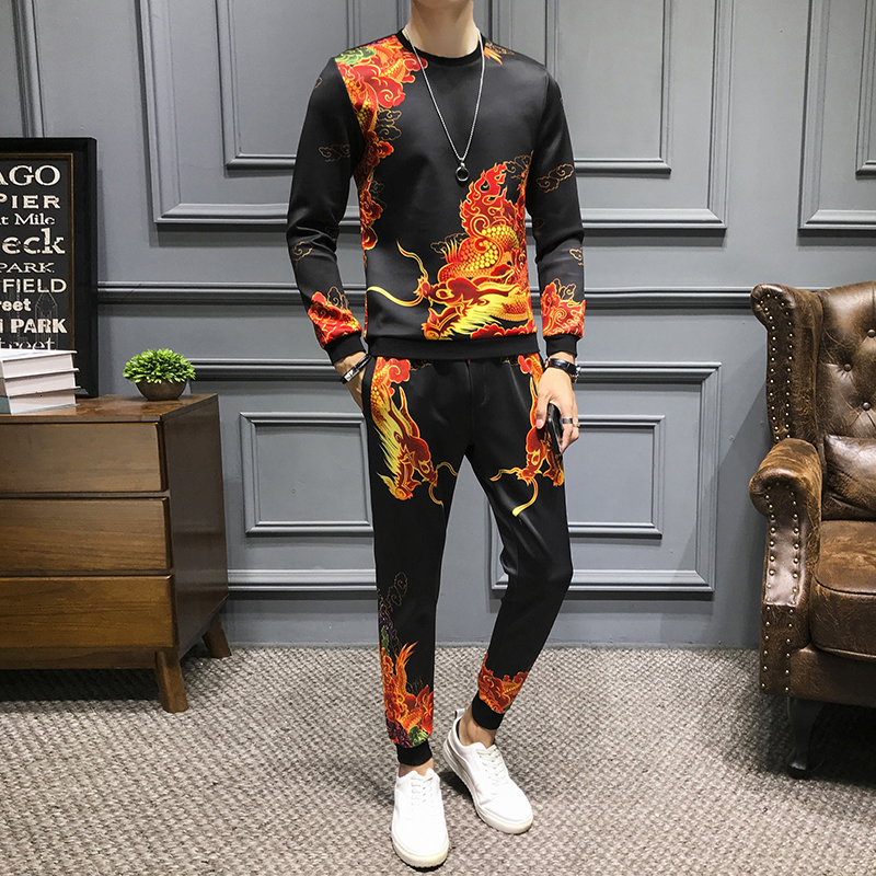2 Piece Sets Luxury Men's Sets Street Hip Hop Pullover Chinese Style Tracksuit +Jogger Pants Suits Casual Sweatshirts+Sweatpants