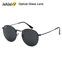 Jackjad 2021 vintage 3447 redondo metal qualidade lente de vidro óptica óculos de sol clássico retro design da marca óculos sol