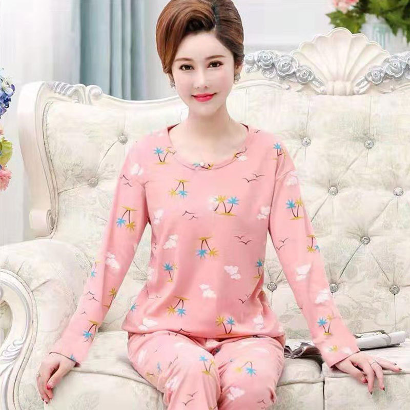 Spring And Autumn New Products Long Sleeve Pajamas Women's Autumn Plus-sized Warm And Comfortable Middle-aged Mom Ladies Home Le