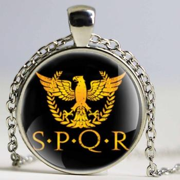 Classic Roman Empire SPQR Design Gold Color Glass Dome Necklace Keychains Men Women Keyring Jewelry Gifts image