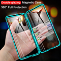 Doppelseitige Gehärtetem Glas Magnet für Samsung S20 Ultra S8 S9 S10 Plus Note9 10 A10 A30 A50 A71 360 volle Schutz Flip-Cover