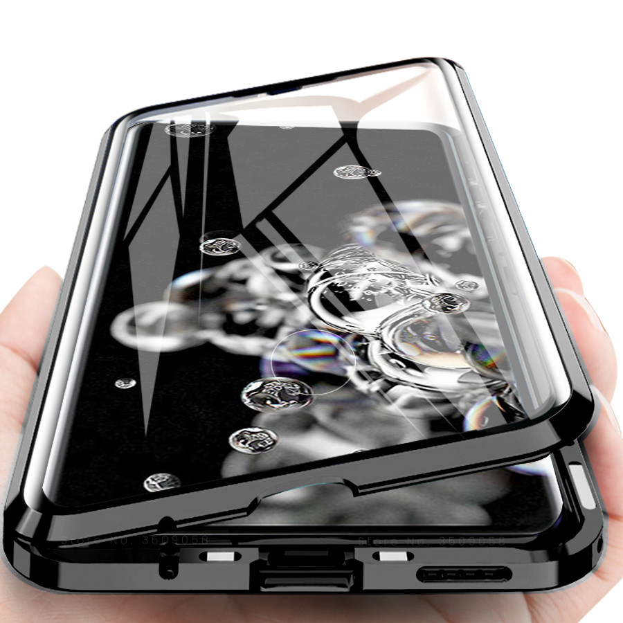 For <font><b>Samsung</b></font> Galaxy S20 Ultra Case 360 Front+<font><b>Back</b></font> double-sided Tempered <font><b>Glass</b></font> Case for <font><b>Samsung</b></font> S20 Magnetic Metal <font><b>Cover</b></font> A51 A71 image