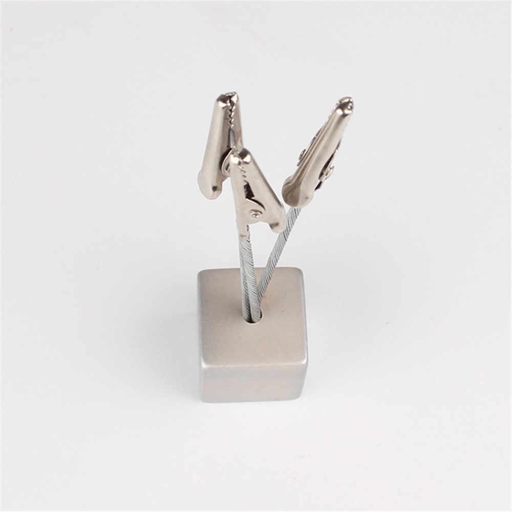 1 шт. маленький куб 3 зажима металлические зажимы для заметок держатель для карт записная книжка фото зажимы подставка Kawaii Канцелярские товары офисный стол органайзер