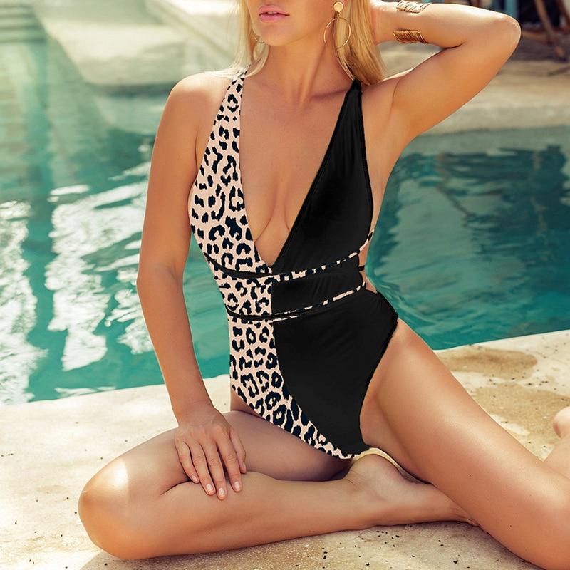 Leopard print one piece swimsuit poolside