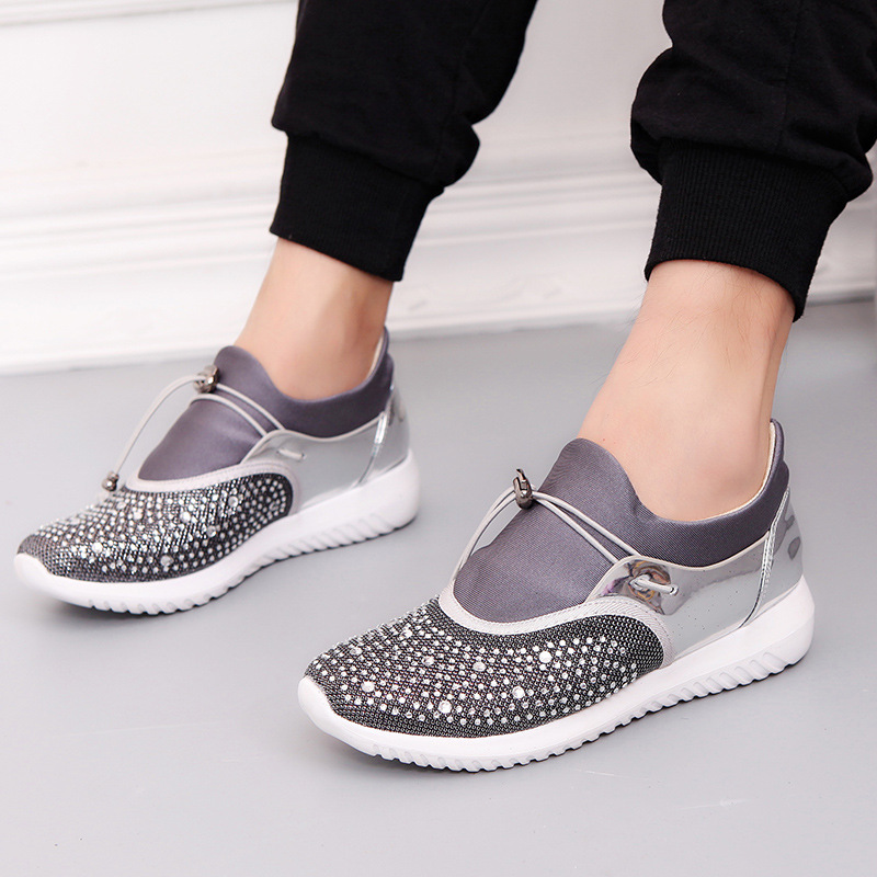 New Women's Shoes Flat Platform Fashion Sneakers Woman Casual Loafers Ladies Elastic Band Low-cut Soft Bottom shine Best Sellers image
