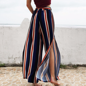 Long Pants Wide-Clothing Spring Waist Holidays Loose-Style Female Striped Casual Summer