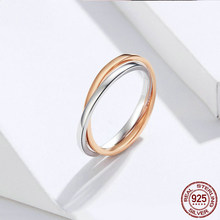 Biocolor Double Finger Rings 925 Silver Couple Engagement Ring for Women and Men Rose Gold Color Jewelry BSR053