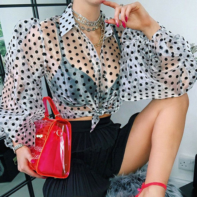 Women Polka Dot Retro Blouse Lady Early Autumn Modern Mesh Shirt Vogue See-through Loose Button  Puff Sleeve Blouse High Street 5