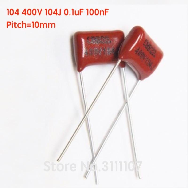 20 100NF P10 CL21 104J Pçs/lote 104 400V 0.1UF CBB capacitor de Filme de Polipropileno Metalizado Capacitor passo 10mm 100% Novo