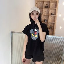 Summer Luxury 2 Piece Set Women Fashion Cartoon Mickey Suit Female T-shirt Hooded Student Shorts Cotton Casual Sports Suit(China)