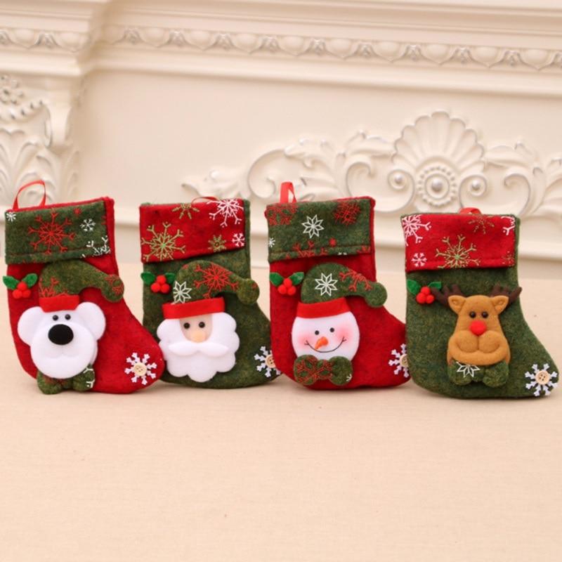 Christmas Stockings Hanging Christmas Tree Decoration 2020 New Year Candy Bag Gifts Santa Snowman Socks Stocking Xmas Ornament