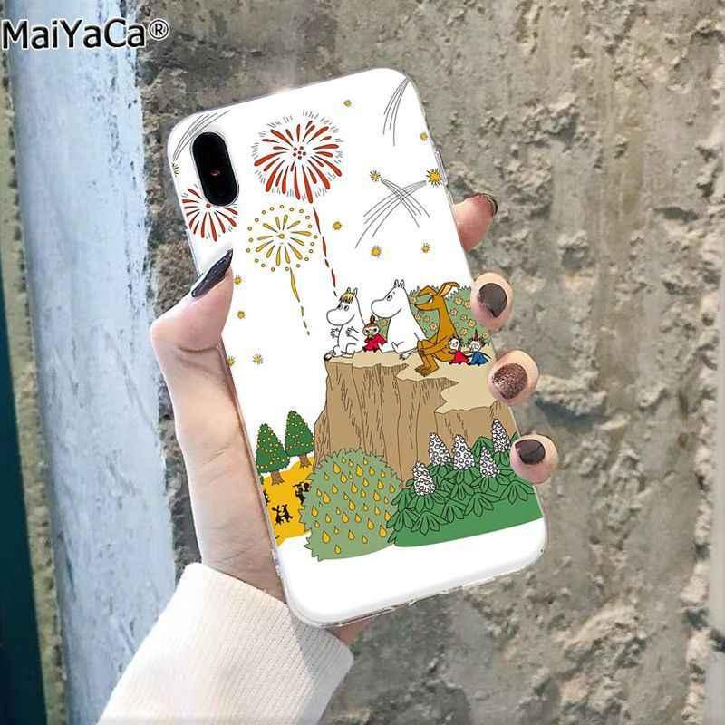 Maiyaca Hippo Moomin Lucu Hewan Kartun Hitam Ponsel Case Penutup untuk Apple Iphone 11 Pro 8 7 66S Plus X XS Max 5S SE XR