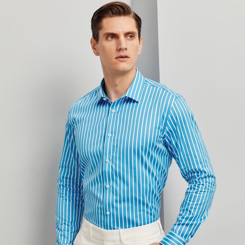 Non-iron 100% Cotton Fashion Color Striped Shirts For Men Long Sleeve Standard-fit Youthful Vitality High-quality Casual Shirt