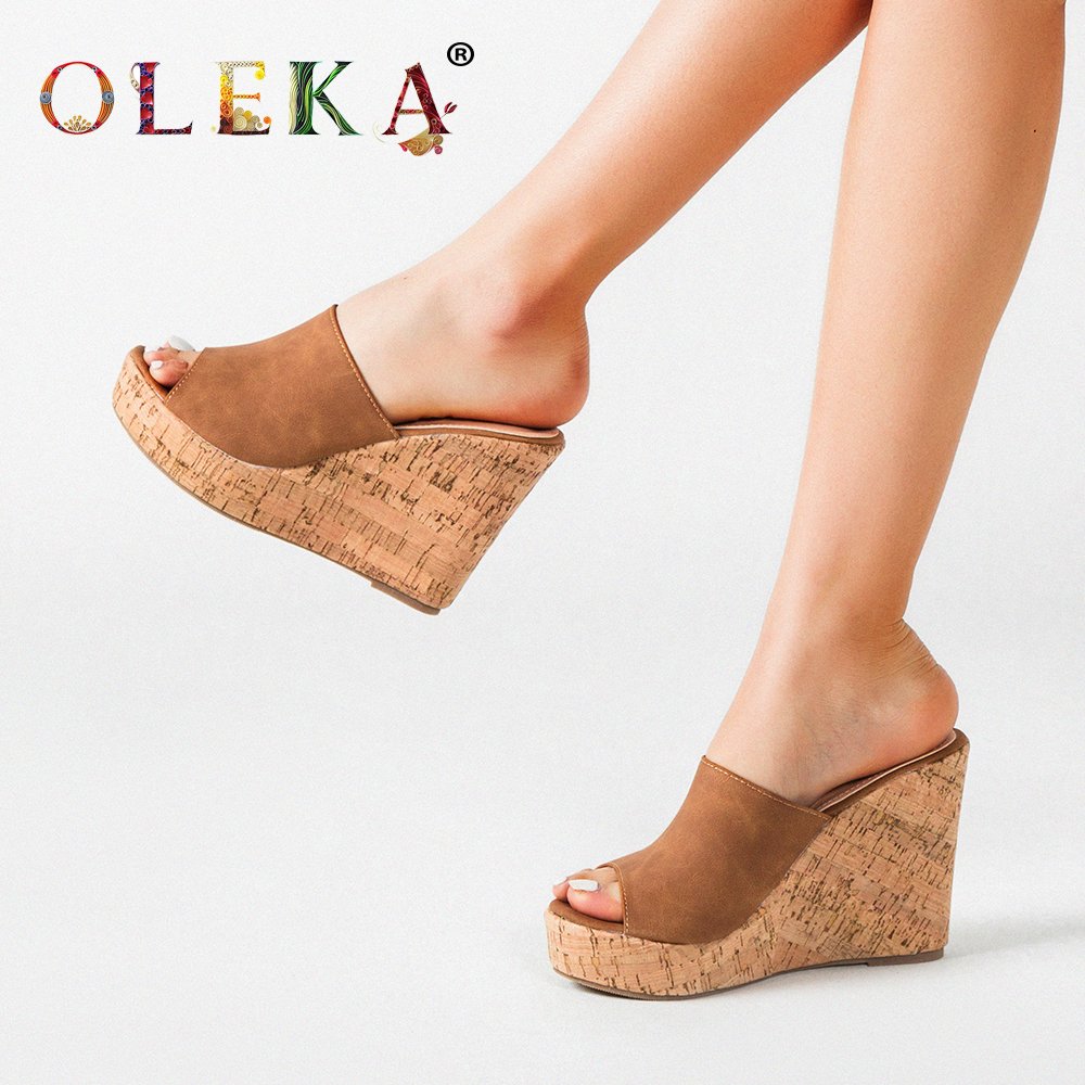OLEKA2020 New  Wedge Heel Ladies Sandals Breathable Quality Material Khaki Pattern Sandals Women Platform Sandals Shoes For  AS5