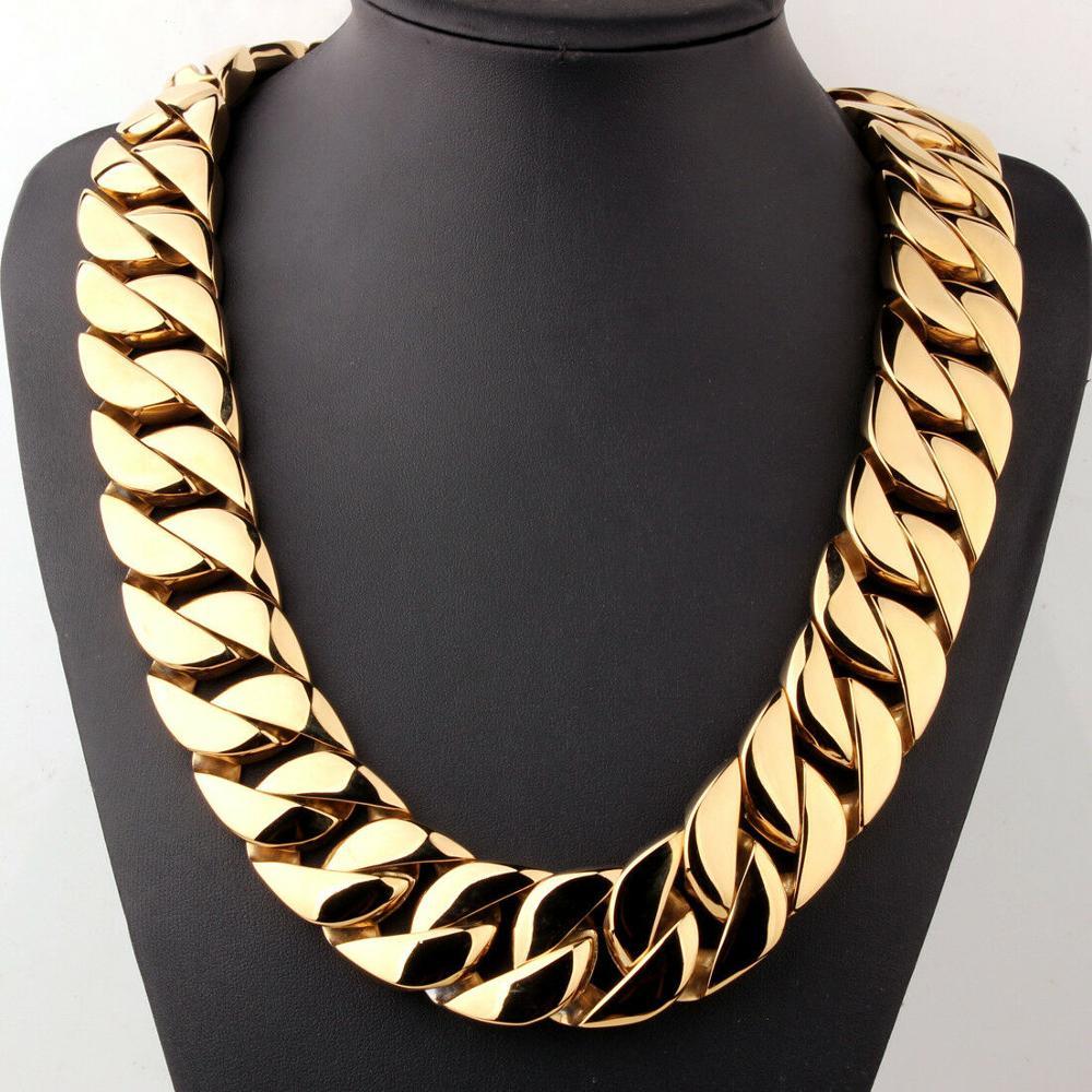 Image 2 - 31 мм полированное тяжелое мужское ожерелье из нержавеющей стали 316L золотая цепочка с кубинским кольцом мужское женское ожерелье/браслет 7 40 дюймов-in Ожерелья-цепочки from Украшения и аксессуары