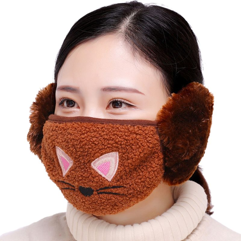 Cute Cartoon Cat Embroidered Earloop Mouth Mask Cotton Plush Windproof Earmuff 95AB