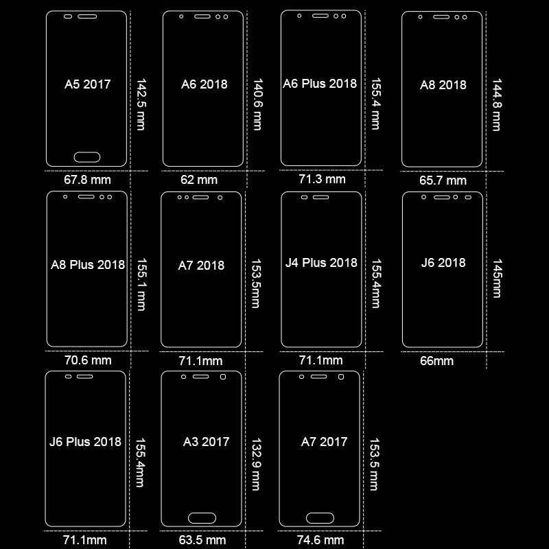 3-1 ピース/ロット強化サムスンギャラクシー J4 プラス J6 J8 A6 A8 A7 2018 スクリーンプロテクターのためのサムスン A5 A3 A7 2017 ガラスフィルム