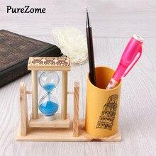 Таймер деревянная ручка держатель офисный стол аксессуары с песочными часами оттереть карандаш