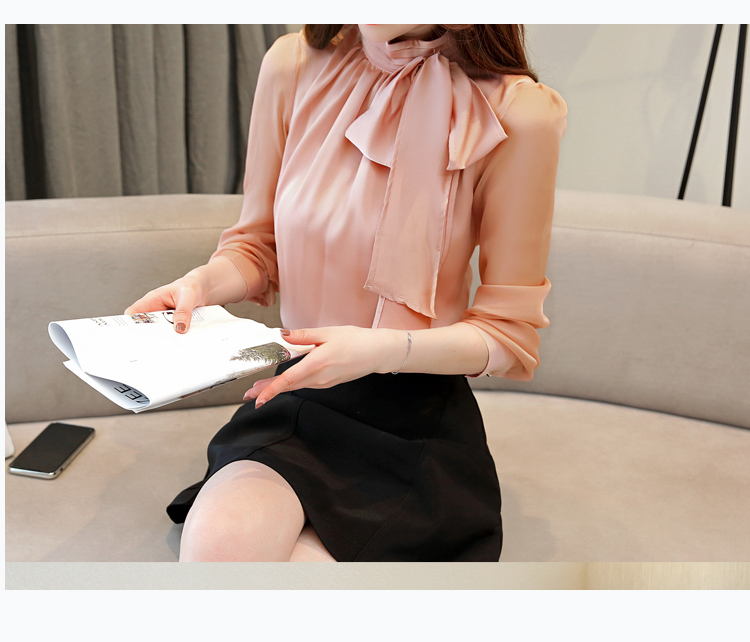 Long Sleeve Tie Bow Chiffon Turtleneck Blouse Shirt 7