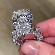 Huitan wspaniały duży kształt gruszki pierścionek zaręczynowy kwadratowy CZ pierścień przyrzeczenia najlepsza propozycja pierścień dla dziewczyny kobiety Trendy biżuteria Hot tanie tanio CN (pochodzenie) Mosiądz Cyrkonia Zespoły weselne GEOMETRIC Wszystko kompatybilny F375 F548 F549 Prong ustawianie Moda