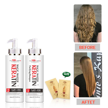 300ml Keratin Without Formalin Coconut Oil +300ml Purifying Shampoo Professional Repair Damaged&Straighten Hair 300ml mmk magic master keratin without formalin purifying shampoo straighten hair set get free comb