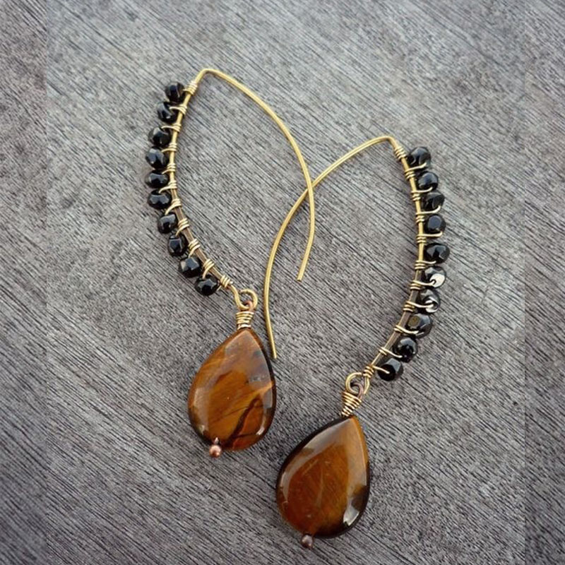 wire wrapped with Tiger Eye gemstone and Spinel gemstone small beads earrings|Drop Earrings| - AliExpress