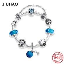 Новый 925 стерлингового серебра Русалка Подвески Браслеты синие стеклянные бусы, амулеты Модные женские браслеты на запястье в виде Роскошные ювелирные изделия