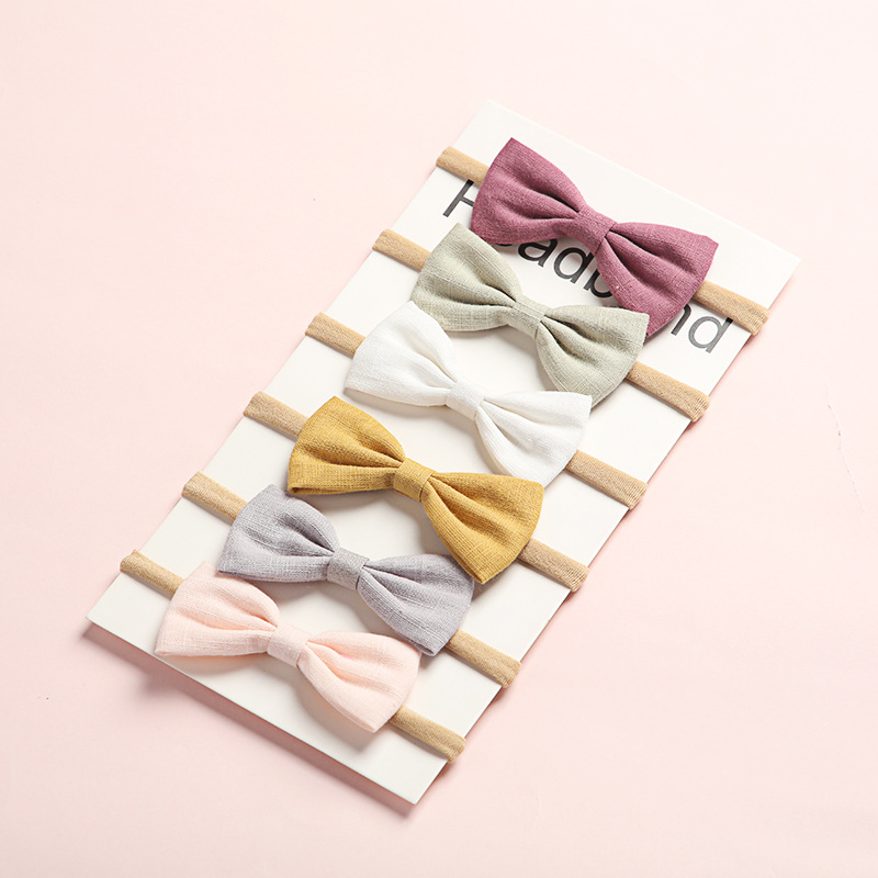 6Pcs/Lot Hair Bows Baby Girls Headband Nylon Headbands Linen Fabric Hairband For Kids Newborn Spring Hair Accessories Lovely