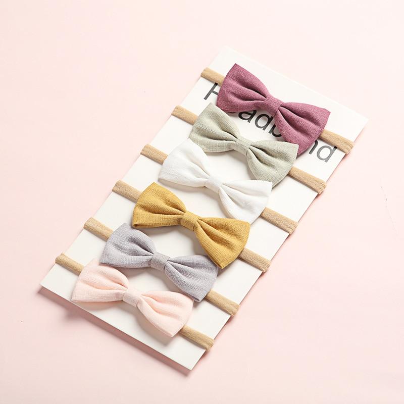 6 pièces/lot cheveux nœuds bébé filles bandeau Nylon bandeaux lin tissu bandeau pour enfants nouveau-né printemps cheveux accessoires belle
