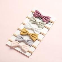 Lot de 6 bandeaux en Nylon pour petites filles, nœuds de cheveux, en tissu lin, pour enfants, accessoires de cheveux, jolis, printemps