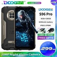 Doogee s96 pro áspero telefone móvel 20mp câmera de visão noturna 8g ram + 128g rom mt6785 6350mah nfc suportado 6.2 phone phone telefone