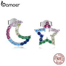Bamoer argento arcobaleno stella luna orecchini argento Sterling 925 colorato CZ orecchino regalo delicato per le donne gioielli dichiarazione BSE481