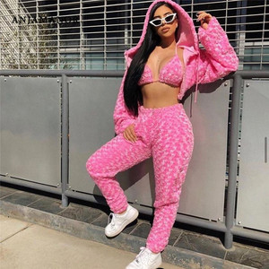 ANJAMANOR Fuzzy Pink Sexy 3 Peice Set Women Clothes 2020 Streetwear Rave Festival Club Wear Trendy Outfits Matching Sets D58EI51