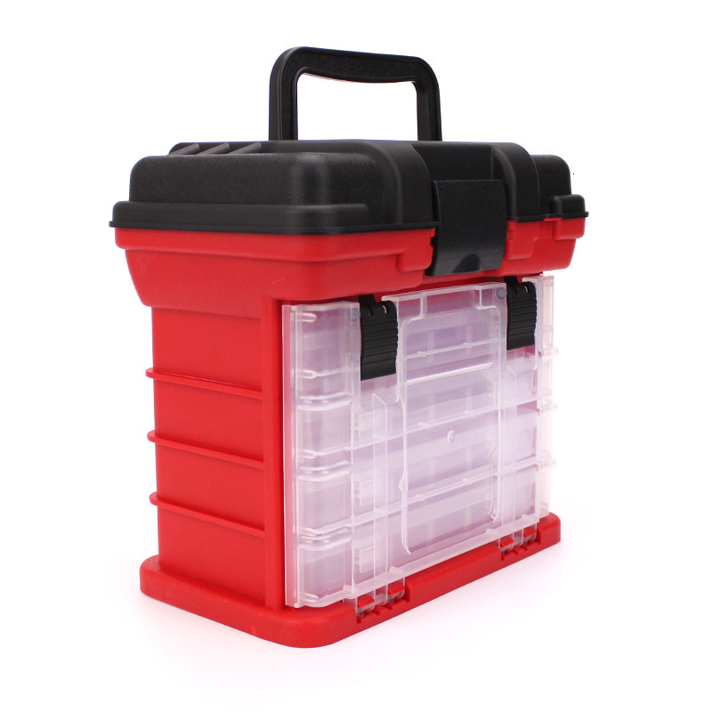 Portable 5 Layer PP+ABS Fishing Tackle Box with Plastic Handle Big Fishing Lures Tools Box Fishing Accessories Case 26x17x26cm (3)