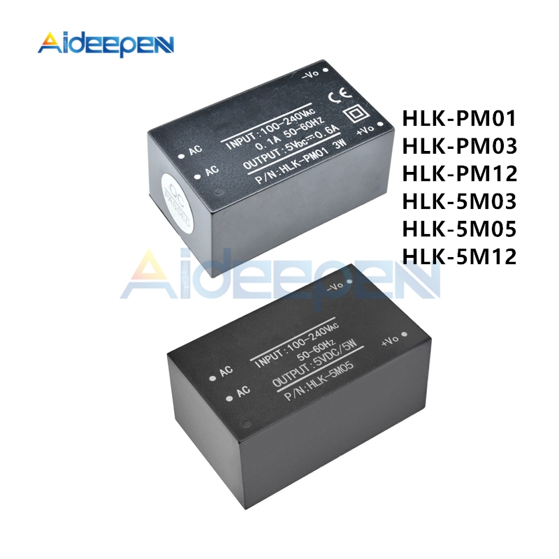 HLK-PM01 HLK-PM03 HLK-PM12 HLK-5M03 HLK-5M05 HLK-5M12 <font><b>AC</b></font>-<font><b>DC</b></font> 100V-240V to 5V/<font><b>3.3V</b></font>/12V 50-60Hz Mini <font><b>Power</b></font> <font><b>Supply</b></font> <font><b>Module</b></font> Switch image