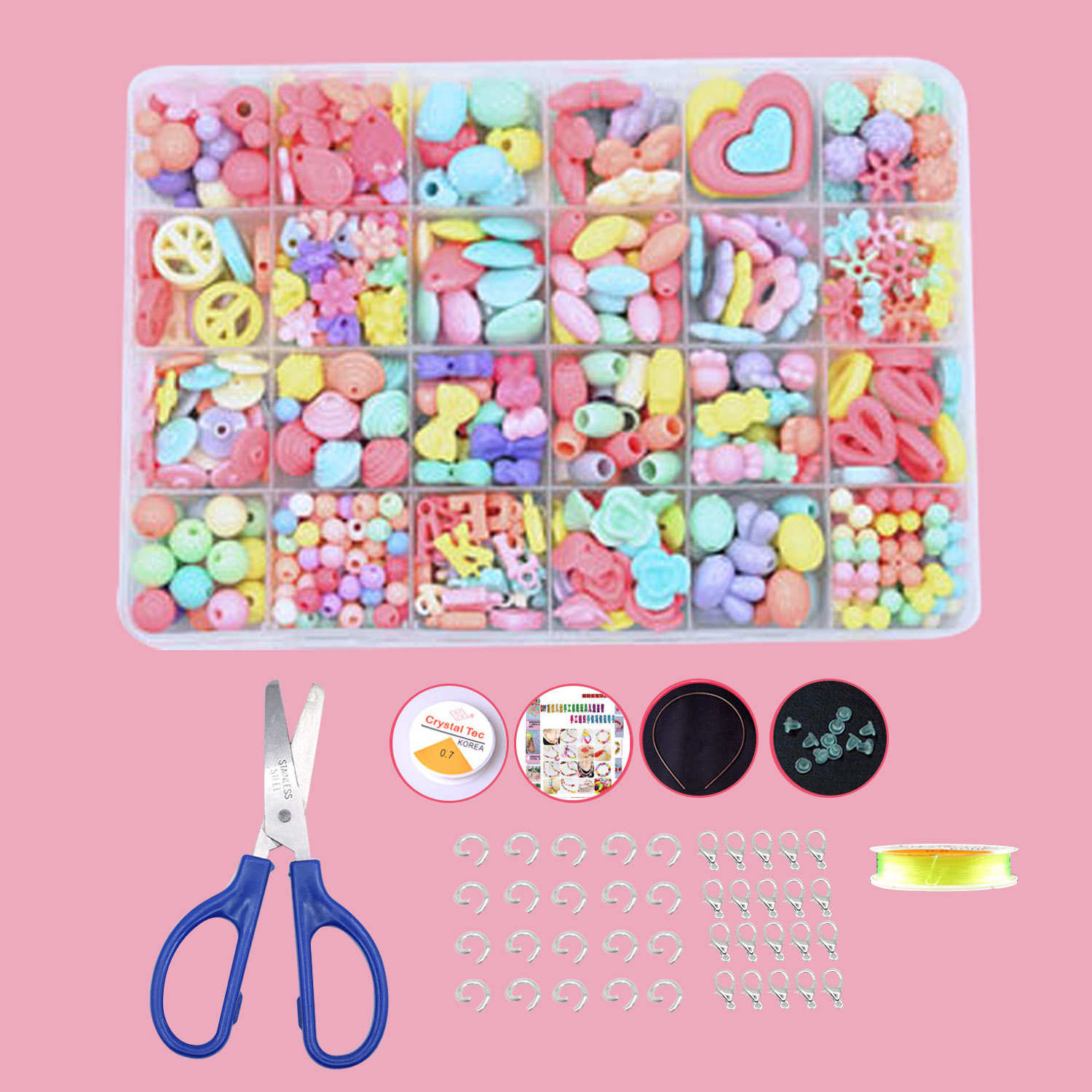 479Pcs 24 Different Types Acrylic Fashion Cute DIY Beads Set Kit Toys Gifts Kids Children Girl Adults Bracelet Necklace Making