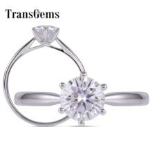 TransGems 1 Carat Moissanite Ring F Colorless Stunning Lab Diamond Wedding Ring Cocktail Ring 14K White Gold Band for Women