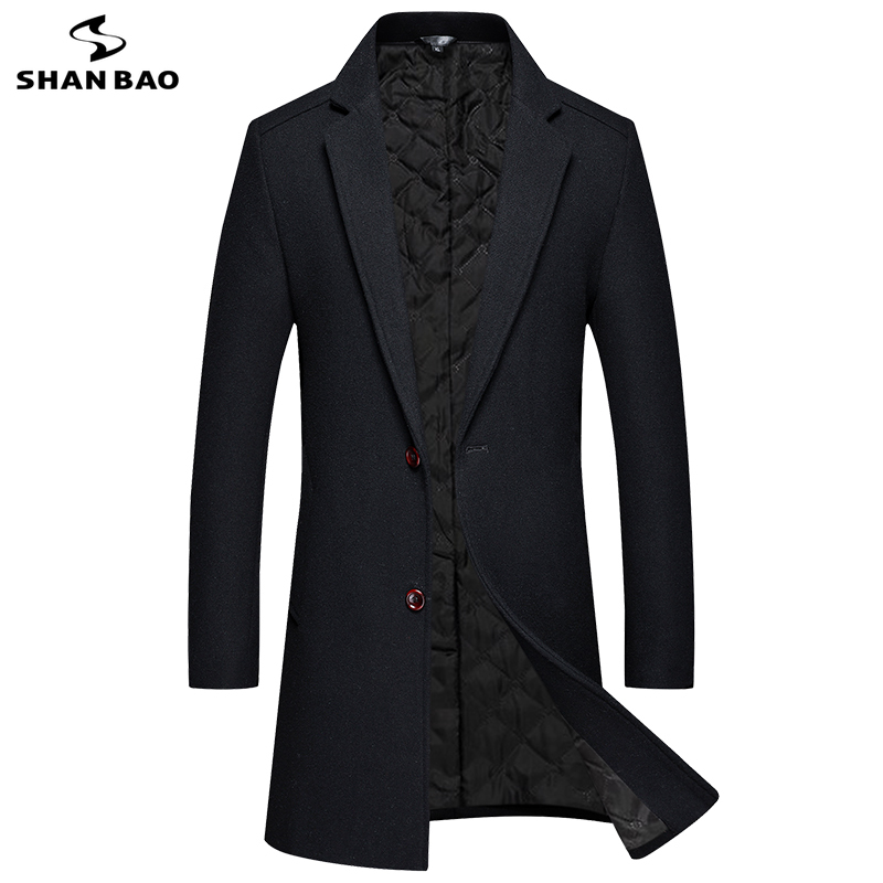 SHAN BAO brand thick warm winter men's long wool coat classic simple single-breasted lapel slim-fit casual coat black gray red