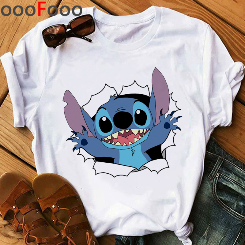 Kawaii Lilo Stitch Harajuku T Shirt Women Ullzang Stitch Funny Cartoon T-shirt Cute Graphic Tshirt Korean Style Top Tees Female