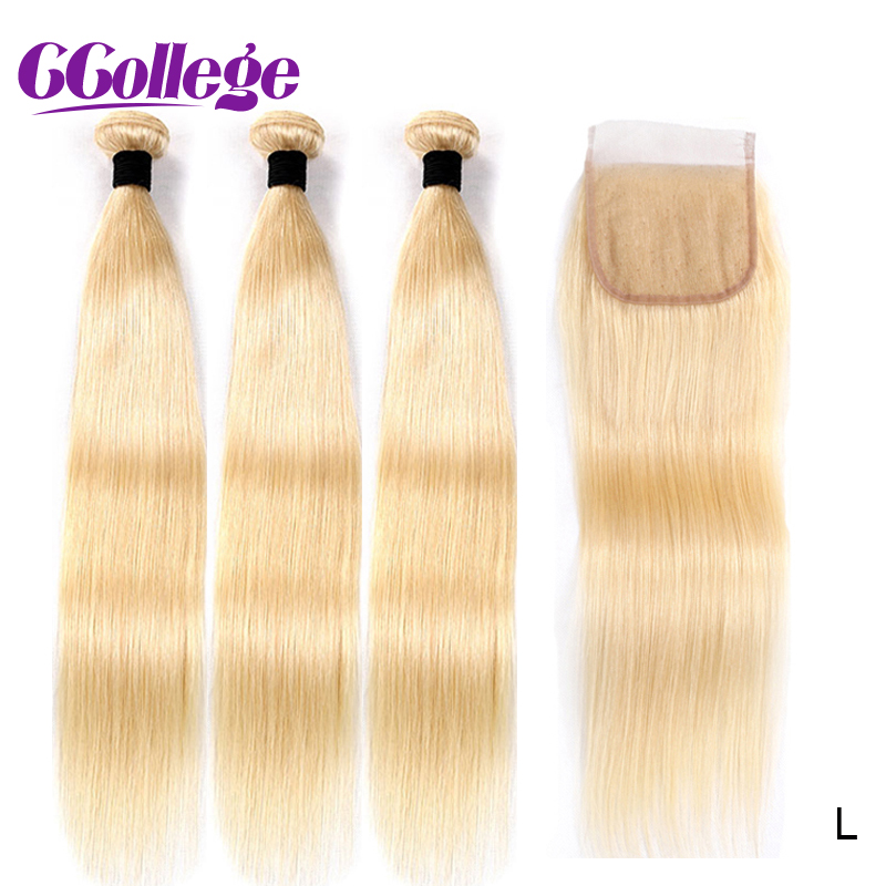613 Blonde Bundles With Closure Brazilian Human Hair Weave Bundles With Closure 14''-24'' Straight Hair Low Ratio Non Remy