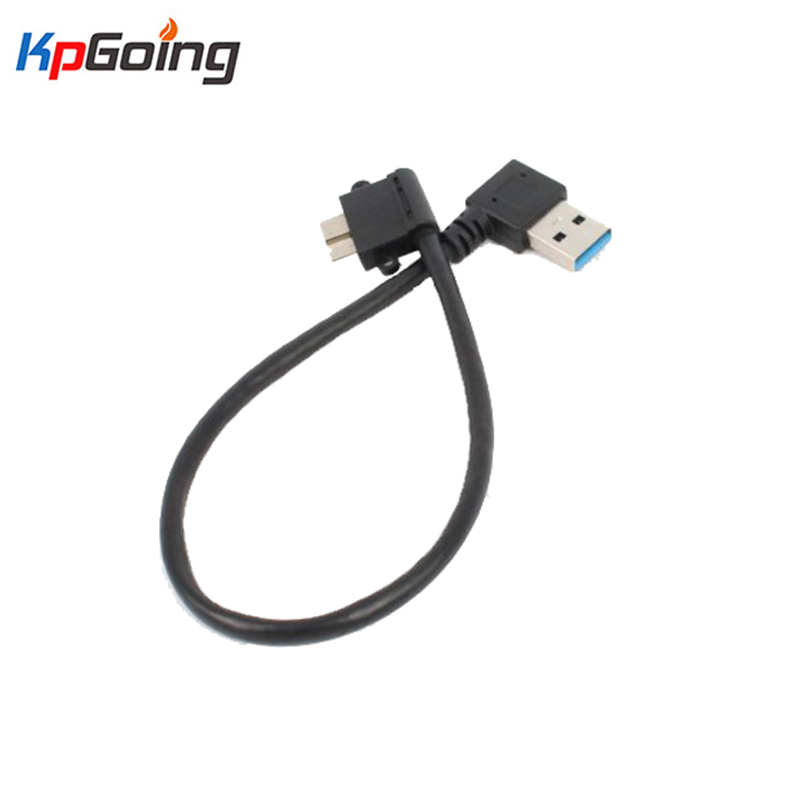 27cm High Speed USB3.0 Adapter Cable <font><b>Black</b></font> <font><b>USB</b></font> <font><b>3.0</b></font> Double Right Angle Type A Male to Micro <font><b>B</b></font> Male Connector For Hard Disk Phone image