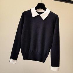 Весна 2020, новый женский шерстяной пуловер с круглым вырезом и длинным рукавом