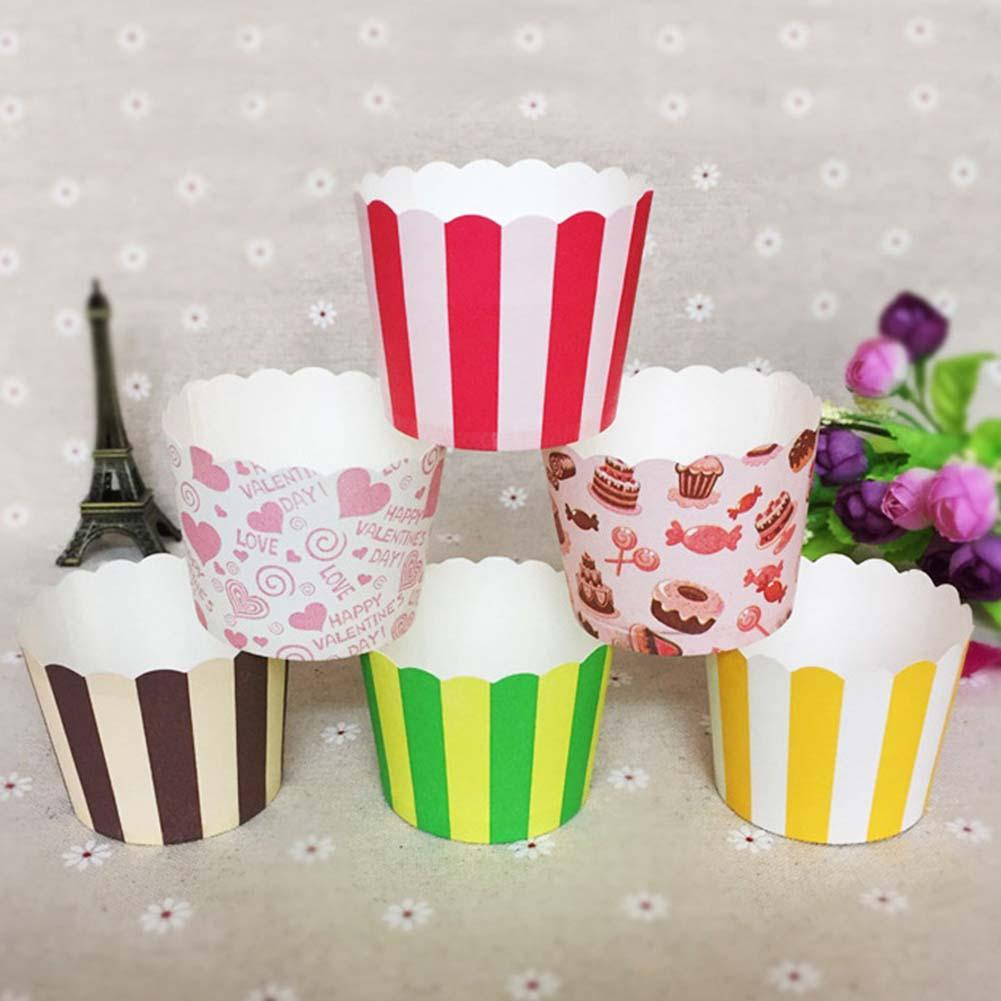 50Pcs Stripe Heart Deer Heat Resistant Cake Cupcake Baking Baking Paper Cup Case kitchen accessories Cake Cup cake decorating to