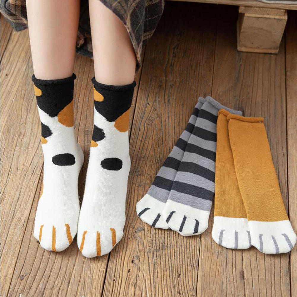 Fashion Kawaii Socks Cute Cats Kitty Claws For Lady Girls  Winter Warm Thick Cartoon Funny Paw Long Socks Women  Sleep Socks