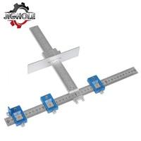 Gabinete de aleación de lauminio Hardware Jig un localizador W/acero funda de guía de broca herramienta de medición para la instalación de manijas perillas