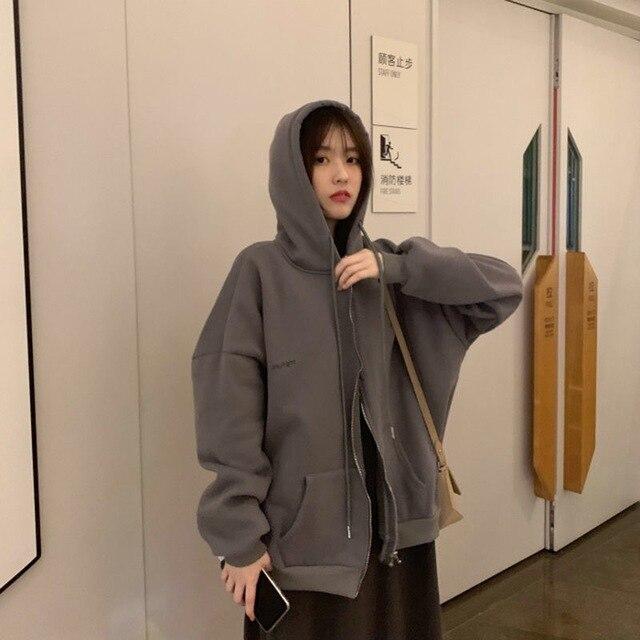 plus size Hoodies Women Harajuku streetwear kawaii oversized zip up sweatshirt clothing korean style long sleeve tops 5
