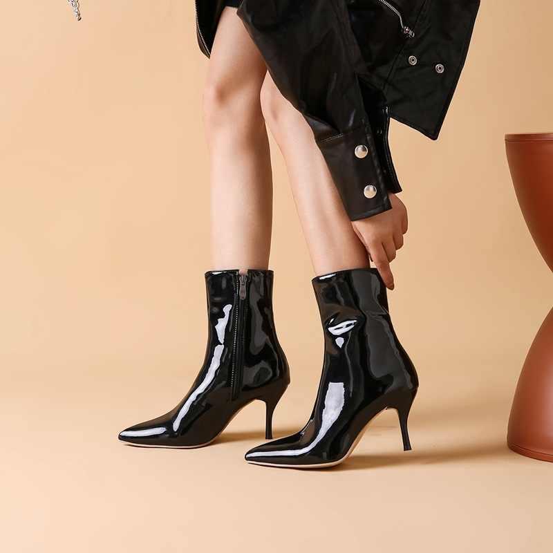 EGONERY sexy stiefeletten mode herbst rot weiß schwarz künstliche patent leder hochzeit frauen schuhe 8cm hohe ferse sexy stiefel