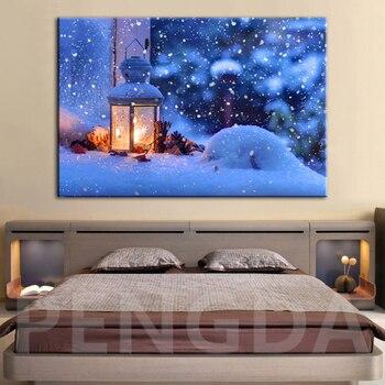 Decoración del hogar lienzo impresiones cartel lámpara naturaleza nieve escena pintura pared arte sala de estar invierno bosque ciervos cuadros marco